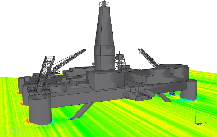 Free surface XFlow provides a free surface module which can be used to analyze loads on structures such as: Offshore platforms, harbours or submerged pipelines in different sea states Simulation of dam spillway and dam breaking Flooding of surface level or underground facilities