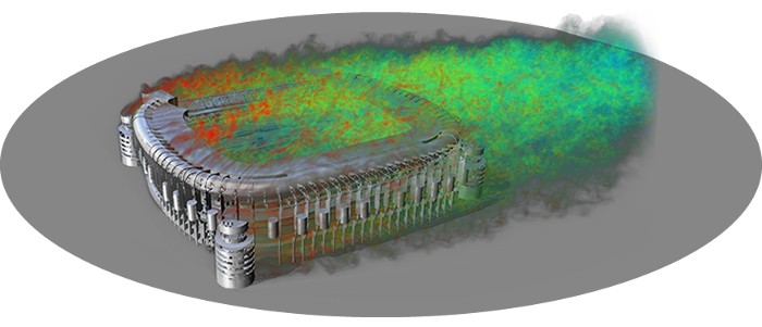 Roof structures It is common to simulate the loads over stadium or large building roof structures, and XFlow can provide averaged pressure distributions and transient data of maximum and minimum peaks.