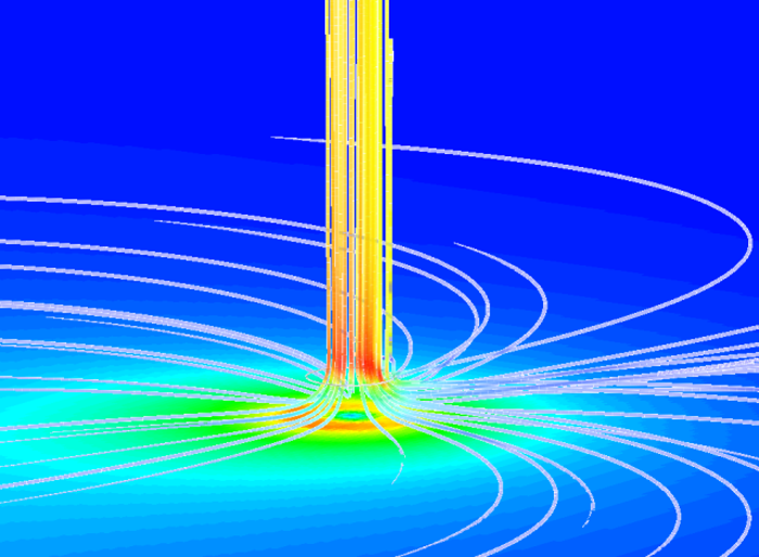 Natural convection The thermal solver allows you to simulate flows driven by natural or forced convection for energy transformation devices, such as a solar tower. In this case the air contained in a collector is heated by the sun, and the resulting natural convection causes air to rise up the tower and to move a turbine, which produces electricity.