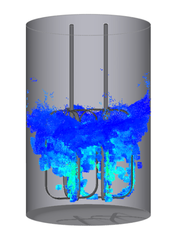 Mixing processes XFlow can be used to simulate agitators and mixers for the chemical industry or water treatment plants. It solves single and two-phase flows for immiscible fluids including surface tension. Stirrers can be modeled as rotating parts.