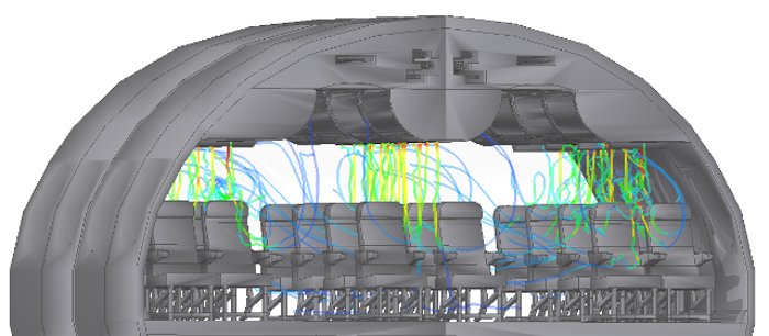 HVAC The thermal solver can be applied to the simulation of the heating, ventilation, and air conditioning system in an aircraft cabin. Fans can be modeled either as rotating parts or using surface boundary conditions. It is possible to analyze the interior airflow, measure temperature at different locations, and even calculate the passive scalar transport of substances.