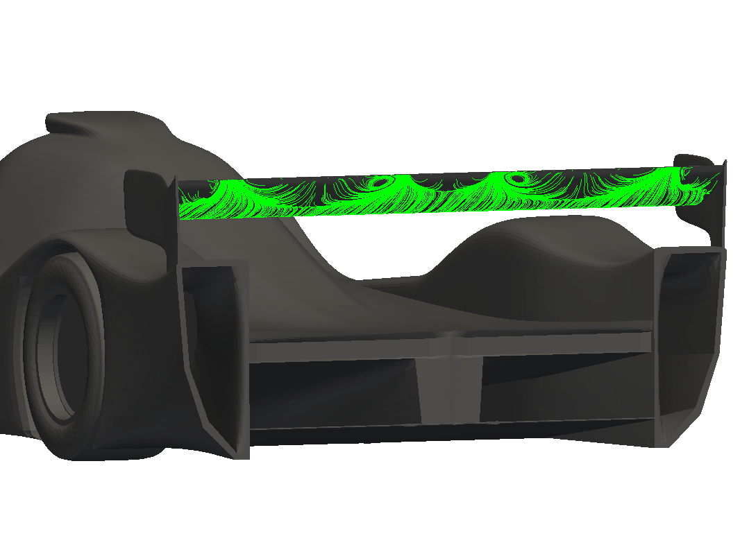 MantiumRacer with poor aerodynamics around the rear wing